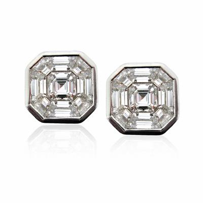 Asscher Cut & Trapeze Cut Diamond Studs 1.50ct