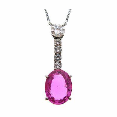 Pink Sapphire & Diamond Drop Pendant 3.06ct
