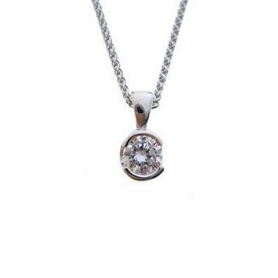 Brilliant Cut Semi Rubover Set Diamond Pendant 0.30ct