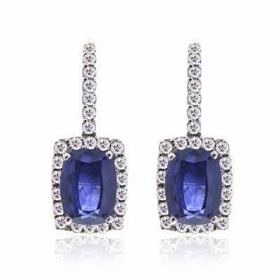 Sapphire & Diamond Earrings Drop Earrings 2.48ct