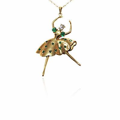 18ct Yellow Gold & Emerald Dancer Pendant
