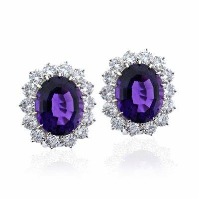 Amethyst & Brilliant Cut Diamond Cluster Earrings