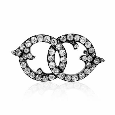 Old Cut Diamond Set Circle Brooch
