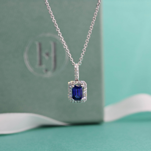 18ct White Gold Sapphire & Diamond Cluster Pendant
