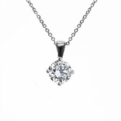 18ct White Gold 0.70ct Brilliant Cut Four Claw Diamond Pendant G SI1