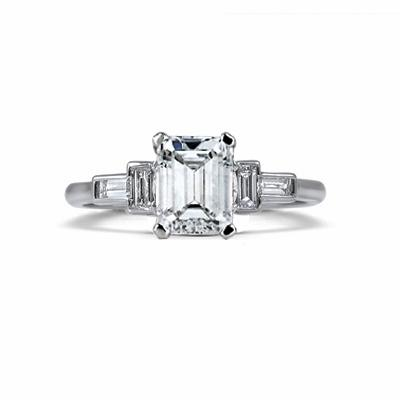 Vintage Emerald Cut Diamond Engagement Ring - 0.90ct F VS2