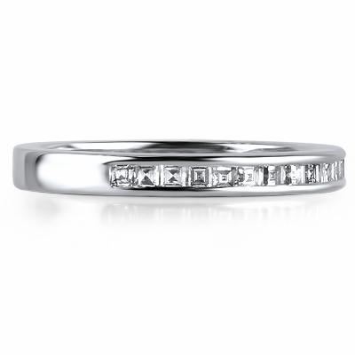 CAPRI Channel Set Carre Cut Diamond Half Eternity Ring