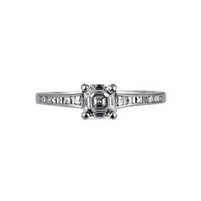 Asscher Cut Single Stone Claw Set Diamond Ring 0.79ct H IF IGI