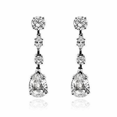 Pear Shape Diamond Drop Earrings 4 01ct