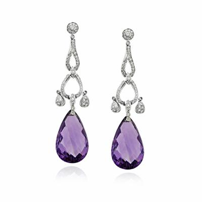Amethyst Briolette & Diamond Drop Earrings 24.65ctct