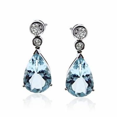 Aquamarine Brilliant Cut Diamond Drop Earrings 6 14ct
