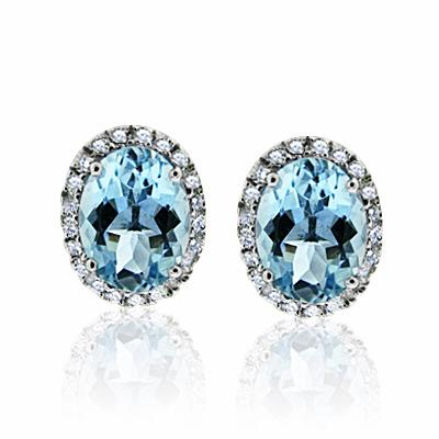Aquamarine & Brilliant Cut Diamond Studs 2.00ct