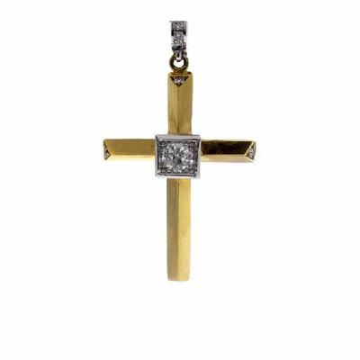 Heera Cut Diamond Cross Pendant Designed By Dawn French