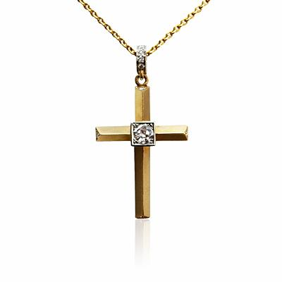 Heera Cut Diamond Cross Pendant
