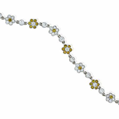 Natural Yellow Diamond and Diamond Flower Cluster Bracelet