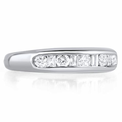 GENOVA Channel Set Brilliant & Baguette Cut Half Commitment Rings