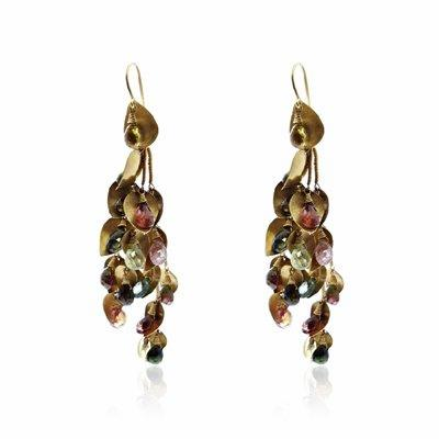 Tourmaline Briolette & Gold Earrings