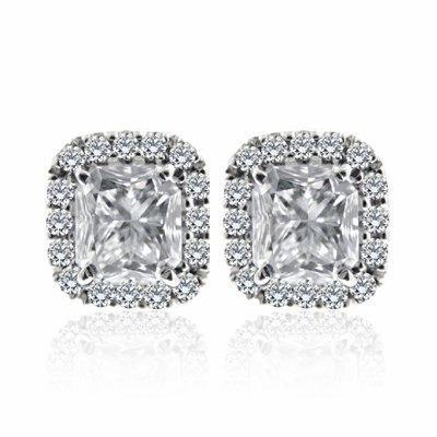 Diamond Earrings Stud Radiant Cut And Brilliant Studs