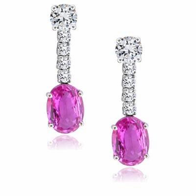 Pink Sapphire and Diamond Drop Earrings 3ct