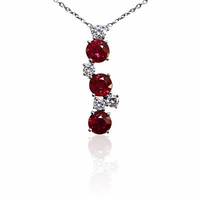 Ruby and Diamond Drop Pendant 1.71ct