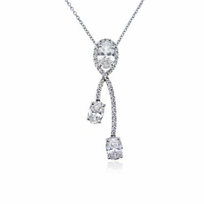 Oval Cut Diamond Micro Set Pendant 1.72ct