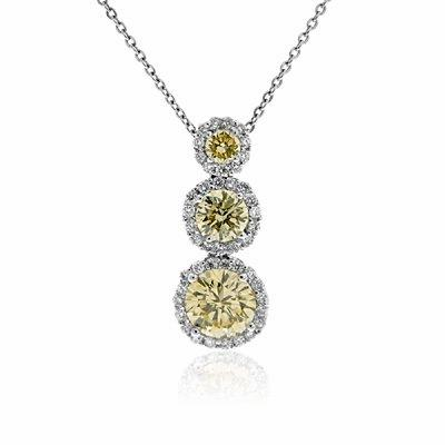 Champagne Brilliant Cut Diamond Cluster Pendant 1.89ct