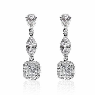 Fancy Shape Diamond Drop Earrings 3.86ct