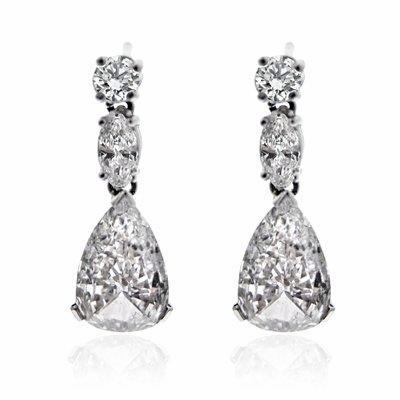 Pear Shape Diamond Drop Earrings 2 90ct