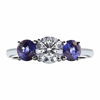 Brilliant Cut Sapphire and Diamond Three Stone Ring