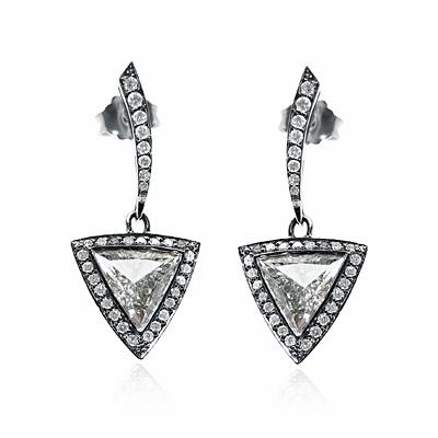Trilliant Cut Diamond Drop Earrings