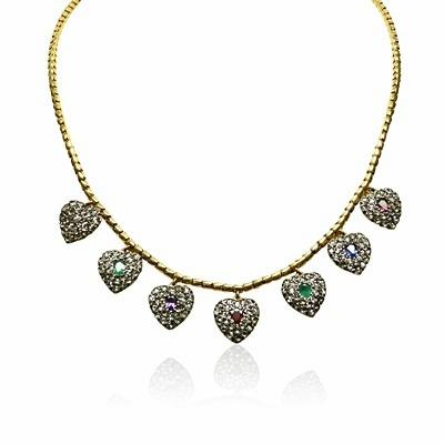 Victorian Dearest Gem Stone & Diamond Necklace