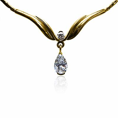 Pear Shape Diamond Pendant 18ct Yellow Gold