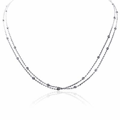 Spectacle Set Necklace In White Gold 18ct 1.50ct Approx