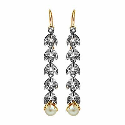 Natural Pearl & Diamond Drop Earrings