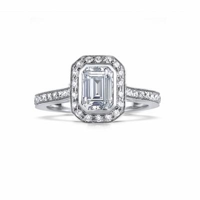 Vintage 0.90ct G VS2 Emerald Cut Diamond Cluster Ring