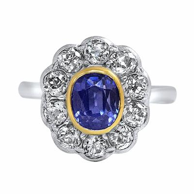 a37db6149458f Antique Sapphire & Old Cut Diamond Cluster - 1.65ct Approx