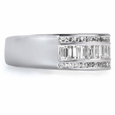 BIELLA Triple Row Channel Set Princess or Baguette Cut Diamond Half Eternity Ring