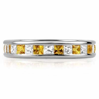 PADUA Channel Set Coloured Stone & Princess Cut Eternity Rings