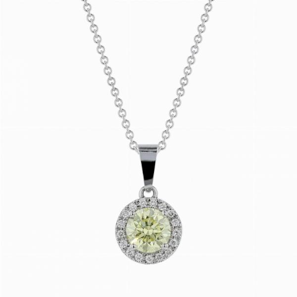 1.09ct Fancy Yellow Round Brilliant Cut Diamond Pendant