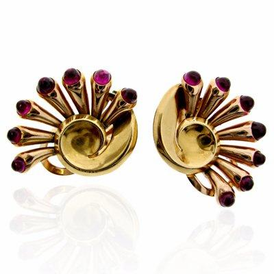 French 18ct Yellow Gold Ruby Ear Clips
