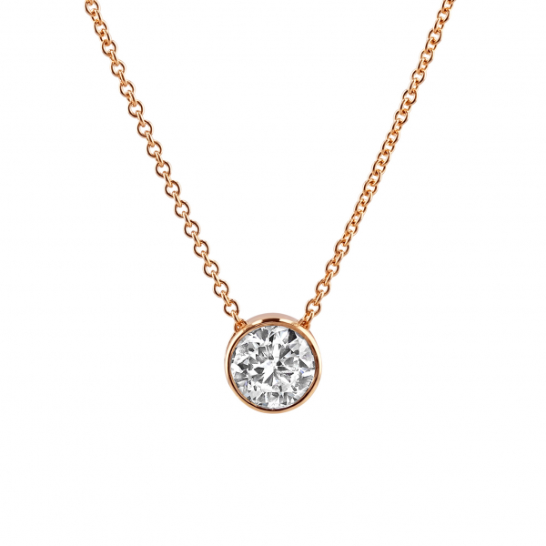 18ct Rose Gold 0.90ct Rub-over Solitaire Pendant