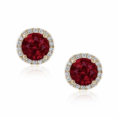 Ruby & Diamond Micro Set Halo Stud Earrings