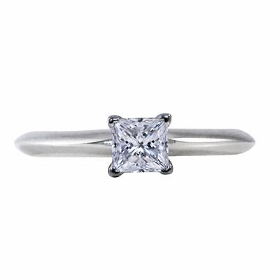 Princess Cut Diamond Engagement Ring 0.38ct By Tiffany & Co