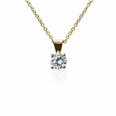 18ct Yellow Gold 0.30ct Brilliant Cut Four Claw Diamond Pendant G SI1