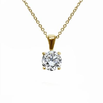 18ct Yellow Gold 0.70ct Brilliant Cut Four Claw Diamond Pendant G SI1