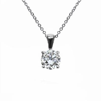 18ct White Gold 0.70ct Brilliant Cut Four Claw Diamond Pendant - G SI1