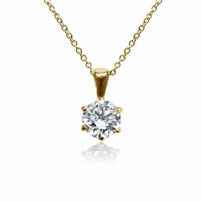 18ct Yellow Gold 0.70ct Brilliant Cut Six Claw Diamond Pendant G SI1