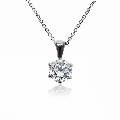 18ct White Gold 1.00ct Brilliant Cut Six Claw Diamond Pendant G SI1