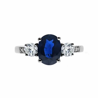 Four Claw Oval Sapphire & Diamond Three Stone  Ring