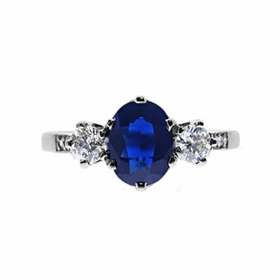 Six Claw Oval Sapphire & Diamond Three Stone  Ring